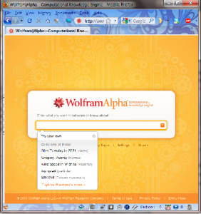 Home page of Wolfram Alpha